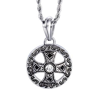 kalen®vintage Stil Schmuck für Männer Edelstahl-Kreuz Runde Halskette