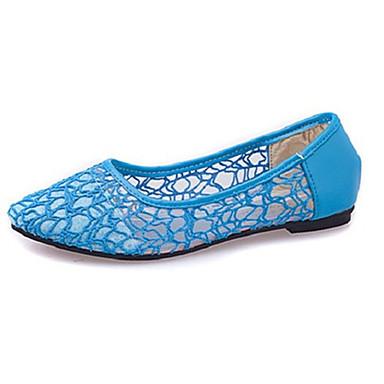 Damen-Flache Schuhe-Lässig-Tüll-Flacher Absatz-Komfort-Schwarz / Blau / Beige
