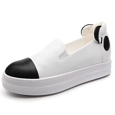Feminino Sapatos Courino Outono Conforto Mocassins e Slip-Ons Rasteiro Presilha Para Social Branco Preto