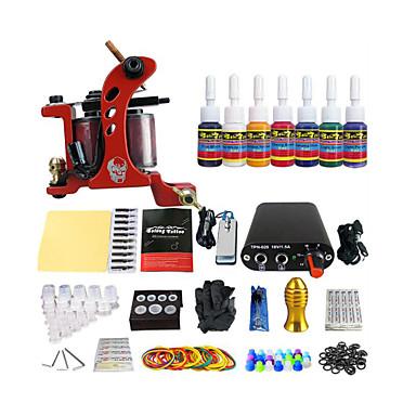 Spule Tattoo-Maschine-Kit Ausrüstung Werkzeug 7 spezielle Farbpigmente (Handle Farbe gelegentliche Anlieferung)