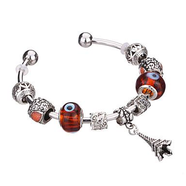 צמידים צמידי צ'ארם / צמידים / צמידי חפתים / Silver Bracelets / צמידי Strand סגסוגת / שרף / מצופה כסף Circle Shape עמיד / אופנתי / מקסים