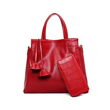Femme Polyuréthane Formel / Décontracté / Bureau & Travail / Shopping Cabas Blanc / Bleu / Rouge / Noir
