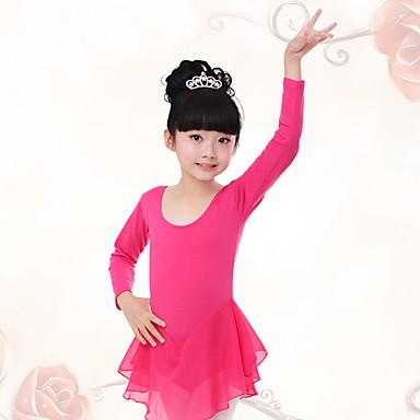 Ballett Kleider Kinder Training Baumwolle Chiffon Gerafft Langarm Normal Kleid