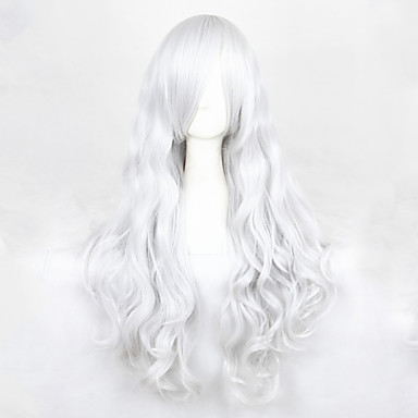 Perruques de Cosplay Angel Sanctuary Rosiel Argenté Long Anime Perruques de Cosplay 90 CM Fibre résistante à la chaleur Masculin / Féminin