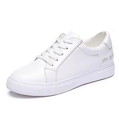 Mulheres Sapatos Couro Envernizado Primavera / Outono Conforto Plataforma Cadarço Branco / Preto