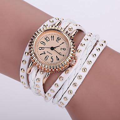 Mulheres Relógio de Moda Relógio de Pulso Bracele Relógio Quartzo / Couro Banda Flor Boêmio Preta Branco Azul Vermelho Rosa RoxaRosa
