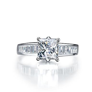 Feminino Anéis Grossos Diamante sintético Fashion Prata de Lei Pedaço de Platina Imitações de Diamante Jóias Casamento