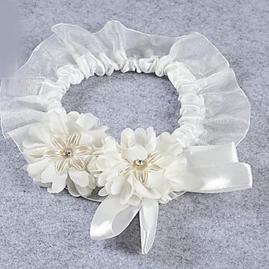 Jarretière Satin élastique Dentelle Tulle Nœud papillon Dentelle Imitation de perle Ruban Blanc