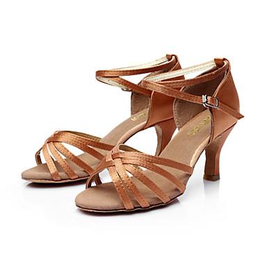 povoljno SUN LISA-Žene PU Leather / Saten Cipele za latino plesove / Cipele za salsu Kopča Sandale Potpetica po mjeri Moguće personalizirati Srebrna / Smeđa / Zlatna / Koža / EU40