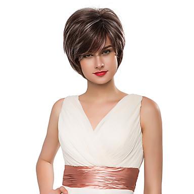 graciosa naturais curto sem tampa ondulado Remy mão cabelo humano amarrado perucas -Top para a mulher