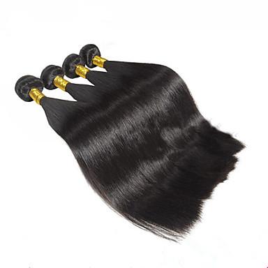 Cabelo Humano Cabelo Malaio Cabelo Humano Ondulado Reto Extensões de cabelo 4 Peças Cor Natural
