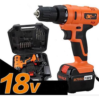 18v cobrando chave de fenda elétrica do agregado familiar, de alta potência, embalagem caixa de ferramentas (uma carga de uma bateria)