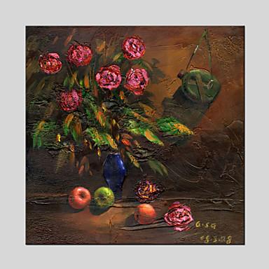Håndmalte Blomstret/Botanisk Moderne / Klassisk / Tradisjonell / Realisme / Middelhavet / Parfymert / Europeisk Stil,Et Panel LerretHang