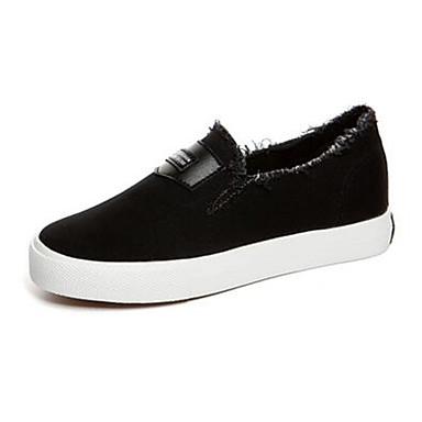 Damen Schuhe Leinwand Sommer Komfort Flache Schuhe Flacher Absatz für Normal Weiß Schwarz