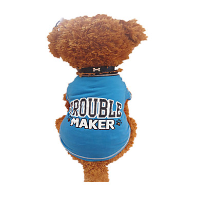 Dog Shirt / T-Shirt Dog Clothes Breathable Letter & Number Black/Blue Costume For Pets