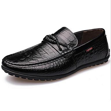 Herre-Lær-Flat hælFlate sko-Friluft-Svart Brun Gul