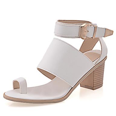 Feminino Sapatos Couro Ecológico Primavera Verão Outono Rasteirinhas Tira no Tornozelo Sandálias Salto Grosso Com Presilha Velcro Para