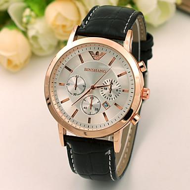 Herrn Modeuhr Quartz Armbanduhren für den Alltag Leder Band Schwarz Braun