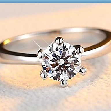 Dames Bandring - Sterling zilver, Zirkonia, Kubieke Zirkonia Klassiek, Modieus 6 / 7 / 8 Goud / Wit Voor Bruiloft / Verloving / Dagelijks / Zilver / Gesimuleerde diamant