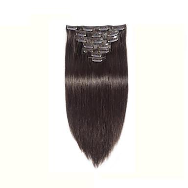 100% valódi indiai emberi póthaj Klip afro-amerikai emberi haj vetülék egyenes fekete 8 '' - 30 ''