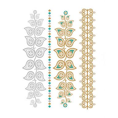 Ikke Giftig / Vandtæt / Metallisk hænder / arm Midlertidige Tatoveringer 1 pcs Sølv / Gylden Kropskunst