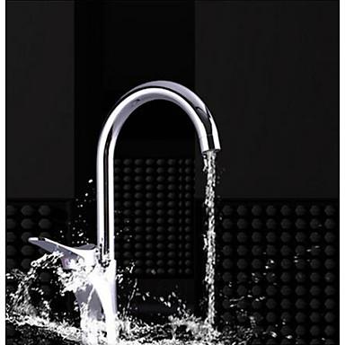 コンテンポラリー トール/ハイアーク 洗面ボウル 滝状吐水タイプ 真鍮バルブ シングルハンドルつの穴 クロム, 水栓