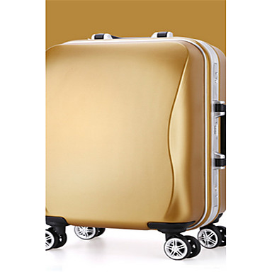 יוניסקס מזוודה PVC כל העונות רוכסן זהב כסף ורוד