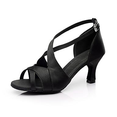 povoljno SUN LISA-Žene Svila Cipele za latino plesove / Cipele za salsu Kopča Sandale Potpetica po mjeri Moguće personalizirati Crna / Crvena / Smeđa / Brušena koža / EU40