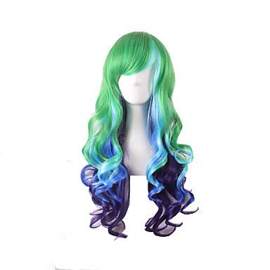 Harajuku לוליטה סגנון שיער גל צבע mutli הסגול הכחול ירוק צבע הדרגתי פאות אנימה סינטטיות פאות קוספליי
