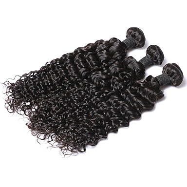 Ekte hår Indisk hår Menneskehår Vevet Dyp Bølge Hårforlengelse 3 deler Naturlig Farge