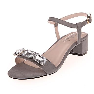 Femme Chaussures Similicuir Eté Sandales Talon Bottier Cristal Creuse pour Décontracté Soirée & Evénement Noir Gris Rouge