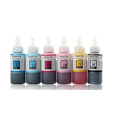 blæk epson R230 L310 l801 R330 en pakke med 4 kasser, hver kasse med forskellige farver, nemlig: sort, rød, blå, gul, magenta