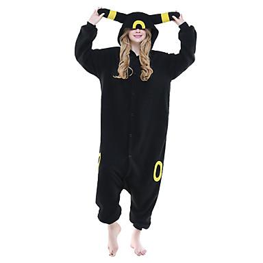 Kigurumi-pyjamas Pika Pika Onesie-pyjamas Kostume Polarfleece Sort Cosplay Til Voksne Nattøj Med Dyr Tegneserie Halloween Festival /