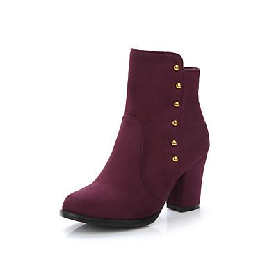 Støvler-Kunstlæder-Modestøvler-Dame-Sort / Blå / Burgunder-Formelt-Tyk hæl