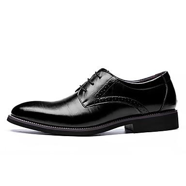 Homens sapatos Couro Primavera / Outono Conforto / Botas da Moda Oxfords Preto / Marron / Azul / Festas & Noite / Sapatos formais