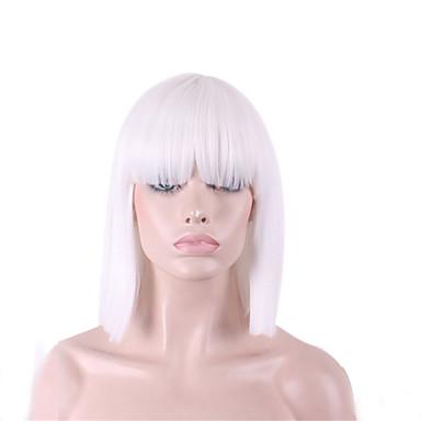 Syntetiske parykker Dame Rett / Yaki Hvit Bobfrisyre / Med lugg Syntetisk hår Hvit Parykk Medium Lengde Lokkløs Hvit