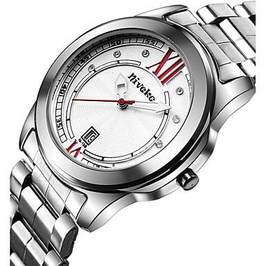 Herrn Quartz Armbanduhr Kalender Edelstahl Band Freizeit Kleideruhr Modisch Cool Silber