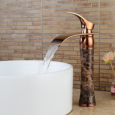 Contemporâneo Conjunto Central Cascata with  Válvula Cerâmica Single Handle Uma Abertura for  Ouro Rose , Torneira pia do banheiro