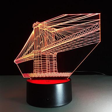 1 Stück 3D Nachtlicht USB Mehrfarbig Glas ABS 1 Lampe Keine Batterien enthalten