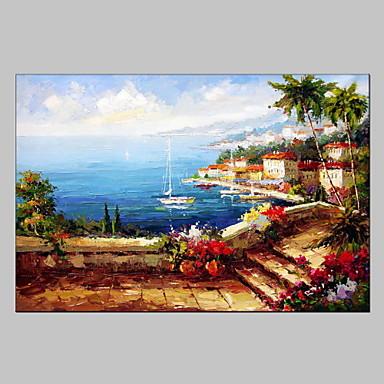 Ручная роспись Абстрактные пейзажиModern / Европейский стиль 1 панель Холст Hang-роспись маслом For Украшение дома