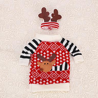 1pc vinflaske dække julebordet dekoration elg hjorte gevir hat tøj ornament husstand