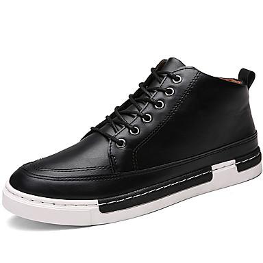 Sneakers-Læder Stof-Komfort-Herre-Sort Gul Grå-Udendørs Fritid Fest/aften-Flad hæl