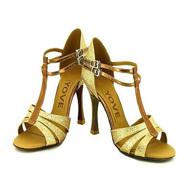 Kadın's Latince Salsa Işıltılı Simler Sandaletler Toka Kişiye Özel Siyah Kırmızı Gümüş Mavi Altın Kişiselleştirilmiş