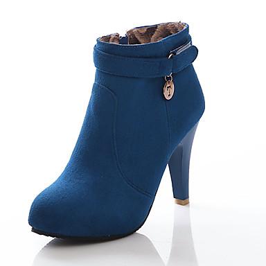 Støvler-Kunstlæder-Modestøvler-Dame-Sort Blå Rød-Udendørs Kontor Fritid-Stilethæl