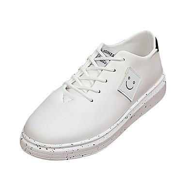 Herre-PU-Flat hæl-Komfort-Flate sko-Fritid-Svart Blå Rød Hvit