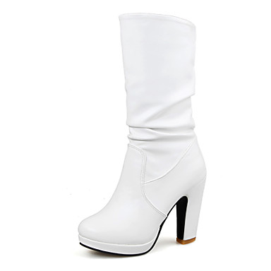 Damen-Stiefel-Kleid Lässig-Kunstleder-Blockabsatz Plateau-Plateau Modische Stiefel-Schwarz Weiß