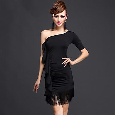 Latein-Tanz Kleider Damen Leistung Kunstseide Chinlon Drapiert Quaste Kurze Ärmel Normal Kleid Unterhose