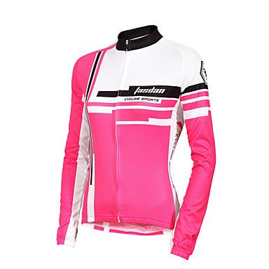 TASDAN Damen Langarm Fahrradtrikot - Rot Rosa Fahhrad Trikot/Radtrikot, Rasche Trocknung, UV-resistant, Atmungsaktiv, Schweißableitend