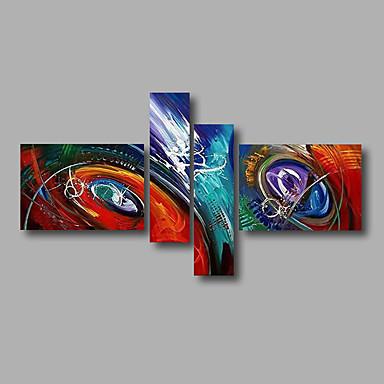 Pintura a Óleo Pintados à mão - Abstrato Modern Tela de pintura 4 Painéis