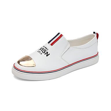 للرجال أحذية كانفا / جلد ظبي ربيع / خريف مريح المتسكعون وزلة الإضافات أبيض